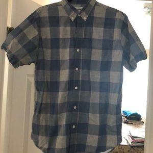 Men's medium old navy blue plaid shirt